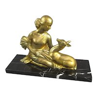 Gilded Spelter Woman And Doe Figurine On Marble Base Art Deco c1930
