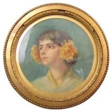 British School Portrait Of A Young Lady Art Deco c1920