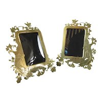 Pair Of Brass Figure Decorated Easel Back Photo Frames Antique Victorian c1890