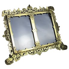Brass Reticulated Easel Double Photo Picture Frame Antique Victorian c1890
