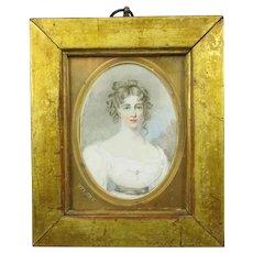 Framed Portrait Miniature Watercolour Painting of Miss Crocker Antique 19th Century