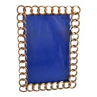 Copper Ring & bevelled Glass Easel Back Photo Frame Antique Victorian c1880