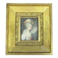 Miniature Watercolour Portrait Of A Lady Antique 19th Century.