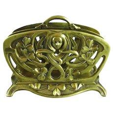 French Art Nouveau Cast Brass Letter Rack Antique c1900