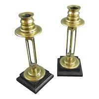 Pair Of Arts & Crafts Ebony Based Brass Candlesticks Antique Victorian c1900