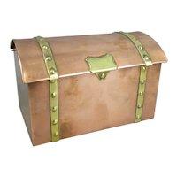 Arts & Crafts Copper & Brass Trunk Antique c1920