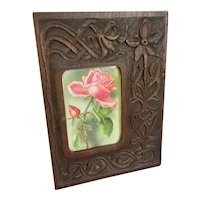 Winfred Walker Floral Carved Oak Photo Frame Antique Victorian Arts & Crafts c1890