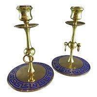 Pair Of Aesthetic Movement Brass & Enamel Candlesticks Antique Victorian c1880