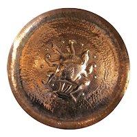 Arts & Crafts Hand Beaten Copper Newlyn Plate Antique c1900