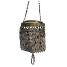Small Chatelaine Chain Mail Purse Antique Victorian c1890.