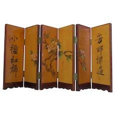 Japanese Wooden Miniature Six panel Screen Vintage 20th Century.