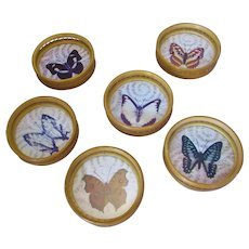 Bamboo Set Of Six Coasters With Butterfly Motif Vintage c.1950.