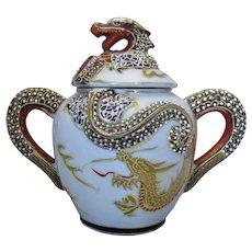 Oriental Style Ceramic Sugar Dish With Dragon Motif Vintage 20th Century.