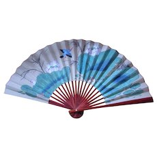 Oriental paper fan with Hand painted Kingfisher & Water Flowers Vintage 20th century.