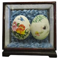 Hand Painted Eggs In Box Frame Vintage 20th Century.