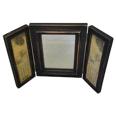 Chinese Wooden Three Panel Triptych Mirror Vintage 20th Century.