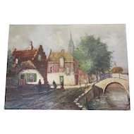 Oil On Canvas Of A Dutch Landscape Vintage 1976.