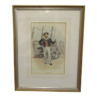 This is an unframed Oil On'The Boatswain' Handcoloured Print Antique Victorian C1900