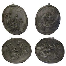 The Four Seasons Dutch Pewter Plaques Vintage C1970's.