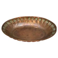 English Copper Arts And Crafts Dish Antique c1900.