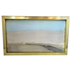 English Oil Painting On Board Seascape Vintage 20th Century.