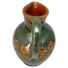 Polish Small Green And Orange Ceramic Jug Vintage 20th century.