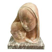Belgian Plaster Mother And Child Figure Art Deco C1930.