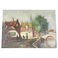 Dutch Village Scene Oil On Canvas Vintage 1976