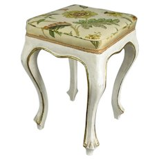 French Painted and Upholstered Stool Vintage c1940