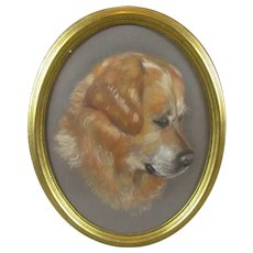 Framed Pastel Drawing of a Dog Vintage c1986