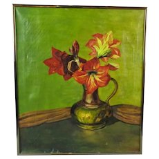 Oil on Canvas Still Life Painting of Flowers Vintage c1950