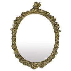Small Cast Brass Rococo Style Mirror Vintage c1962