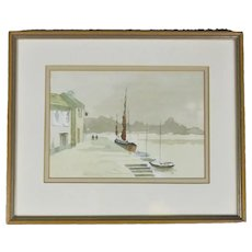Framed Watercolour Painting Sketch Harbour Scene Vintage