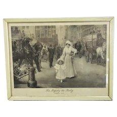 Royal Memorabilia Framed Arthur Drummond Print 'His Majesty the Baby' Antique c1898
