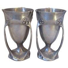 Pair of Kayserzinn Pewter Vases Antique Art Nouveau c1905.