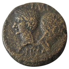 Emperor Augustus and Wife Livia Bronze Coin 27BC-14AD