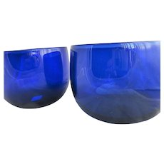 A Pair of Bristol Blue Glass Bowls Antique c1800