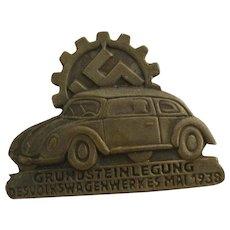 German Original VW Factory Aluminium Tinnie Pin Badge 1938