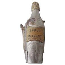 Brass & White Metal Veuve Cliquot Champagne Bottle Vesta Case & Cigar Cutter Vintage Art Deco c.1920s.