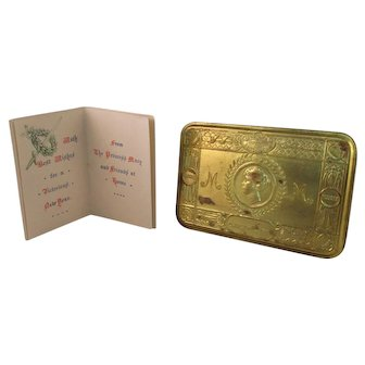 Brass 1914 WW1 Princess Mary Tin With Greetings Card Dated 1915.