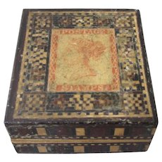Tunbridgeware Stamp Box Antique Victorian Late19th Century.