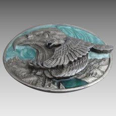 Pewter And Enamel Eagle And Hawk Buckle Vintage USA 1988.