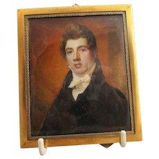 A Portrait Miniature Of A Gentleman Antique c1840