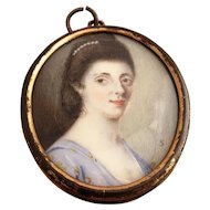 English School Miniature Portrait Of A Lady Signed Late 18thc