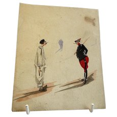 Comical Watercolor of Two Figures 19th Century