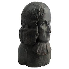 Oak Carved Wood Bust Of Oliver Cromwell Victorian Antique