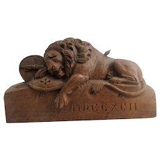 Lion of Lucerne Grand Tour Carved Wood Lion Early 20 th Century