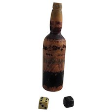 Miniature Carved Wood Wine Bottle Dice Shaker With Dice Inside Vintage 19th century