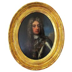 English School Oil On Board Painting Of King James II Antique Late 17th - Early 18th Century