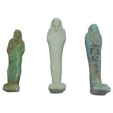 Egyptian Group Of Three Mummiform Shabti Figures Ancient Ptolemaic Kingdom c. 200 BCE